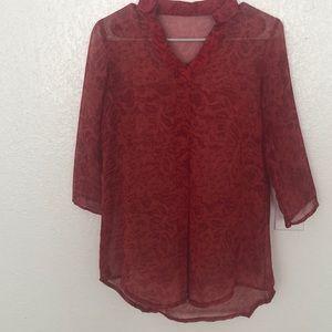 Red snakeskin see thru shirt